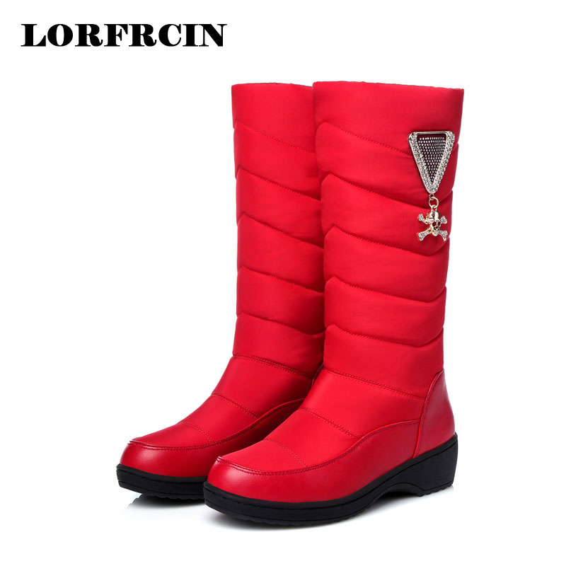 Boots Women Winter 2017 Woman Boots Mid-calf Wedges Shoes Waterproof Warm Snow Boots  Slip-on Botas Mujer <br>