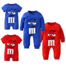 2018 New fashion baby boys girls clothes newborn blue and red Long sleeve Cartoon printing Jumpsuit Infant clothing set(China)