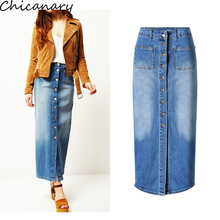 High Waist Blue Denim Button Down Straight Maxi Skirt Elegant Front Slit Stylish Denim Skirt Wash Vintage Slim Skirt With Pocket(China)