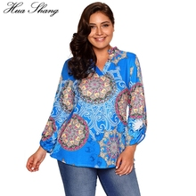 Buy Hua Shang Women Autumn V Neck Long Sleeve Casual Tunic Blouse Retro Vintage Printing Women Tops Plus Size Women Clothing Shirt for $21.08 in AliExpress store