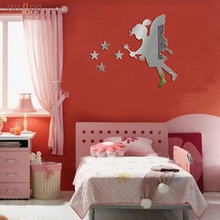 Oujing Happy home Living Room Bedroom Home Decorate Creative Luxury 3D Decal Angel Star Mirrors Wall Stickers On Modern