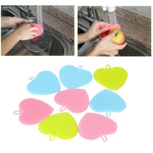 2017 New product high quality 3 Colors Heart Shape Silicone Cleaning Brush Mop Bowl Dish Wash Kitchen Cleaning Pennello(China)