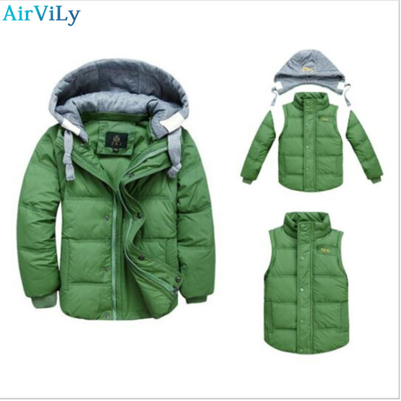Girls Winter Coat Boys Jackets Removable Kids Parkas Vest Childrens Hooded Coats Thick Thermal Outdoor Solid Cotton Outwear <br>