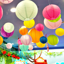 Multicolor Chinese Paper Lanterns 15-20-25-30-35-40cm for Wedding Event Party Decoration Holiday Supplies Paper Ball 32 colors(China)