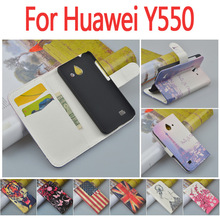 Luxury leather case for Huawei Ascend Y550 / Y 550 flip cover case housing With HuaweiY550 mobile phone covers cases wholesale