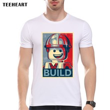 TEEHEART New 2017 Summer Fashion Lego Build  Design T Shirt Men's High Quality  Tops Hipster Tees PA784