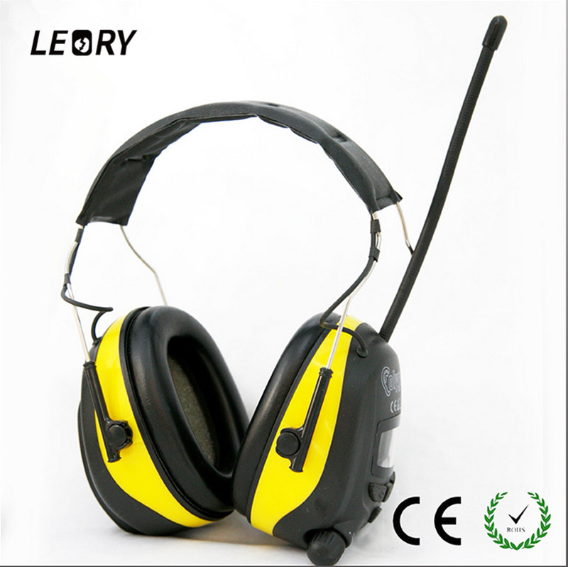 LEORY NRR 25dB Hearing Protector AM FM Radio Earmuffs LCD Screen Earmuffs Electronic Shooting Hunting Racing Earmuff Headset<br>