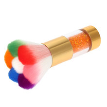 Colorful Nail Dust Brushes Acrylic&UV Nail Gel Powder Nail Art Dust Remover Brush Cleaner Rhinestones Makeup Foundation Tool(China)