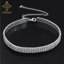 TREAZY Wedding Party Prom Stretch 3 Row Rhinestone Choker Chain Necklace for Women Diamante Crystal Elastic Cord Choker Necklace(China)