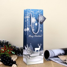 Christmas Snowman Paper Gift Bag Festive Party Decor Red Wine Bottle Bag Art UV Gift Wrap Package SD793
