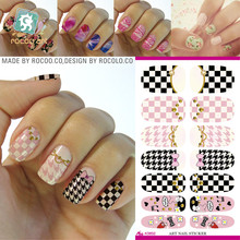 Water Transfer Nail Art Decals Cartoon Butterfly Grid Design Nail Wraps Sticker Minx Manicure Decoration Styling Tools(China)
