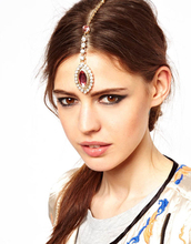 H:HYDE Bride Hair Pin Cuff Wrap Rhinestone Pink Crystal Drop Pendant Forehead Chains Indian Head Jewelry Headband(China)