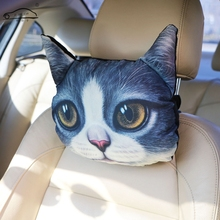 2017 Newest Newest 3D Printed Dog face Car Pillow /Auto Cartoon animal Neck Rest Support Head rest Hot Sale(China)