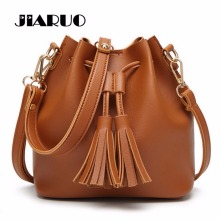 JIARUO 2017 Small Leather Bucket bag For Women Tassel Drawstring Shoulder bag Messenger Crossbody bags Handbag and purses Hand
