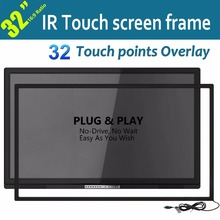"Free Shipping 32"" Black IR Multi Touch Screen Frame True For Interactive Advertising 32 Touch Point Quick Response Plug And Play"