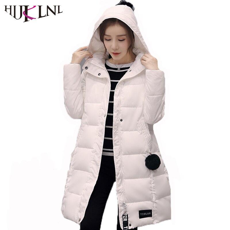 HIJKLNL High Quality Women Clothing 2017 New Long Winter Coats and Jackets Cute Hairball Slim Hooded Cotton Parka Mujer NA396Îäåæäà è àêñåññóàðû<br><br>