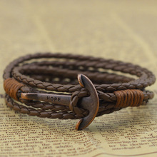 ER Punk Rock Hope Anchor Bracelet Wristband Wrap Charm Braclet For Male Accessories Hand Cuff Leather Braslet for Women LB197
