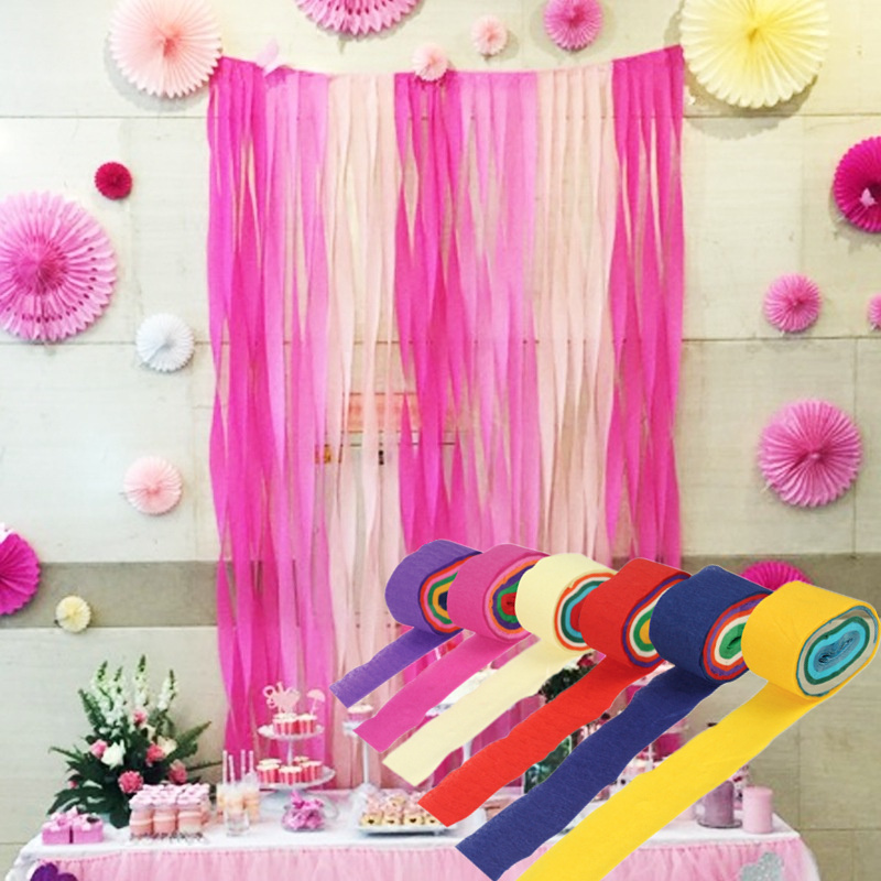 6pcsset crepe paper streamers wrinkles paper rolls diy paper bouquet curling wedding party shower