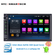 SMARTECH 2 din 7 inch Car PC tablet Intel SoFIA Quad Cores 1G RAM16G ROM Android 5.1 OS 1024*600 Resolution for VW Nissan Toyota