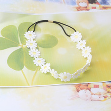 Hot Sale Flower Headbands Women Hair Accessories For Dress Girl White Lace Flower Hair Band Female Elastic Flower Bands