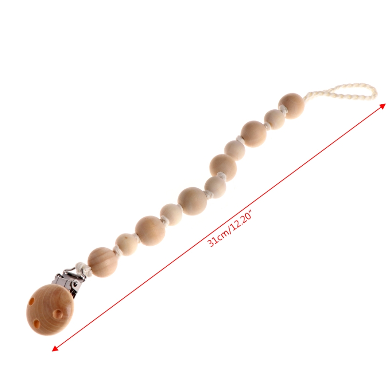 Baby Nipple Chain Natural Wooden Beaded Pacifier Holder Clip Nursing Teether Dummy Chain Toys