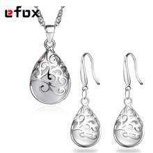 Fashion Moonstone Stone Pendant Earring For Women Jewelry Set Hollow Design Fits Wedding Party Girlfriend Gift Jewelry(China)