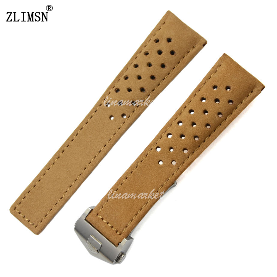 22mm MENS Coffee Watchbands Genuine Leather Holes Watch Bands Strap For TAG Relojes Hombre 2017 TAG202<br><br>Aliexpress