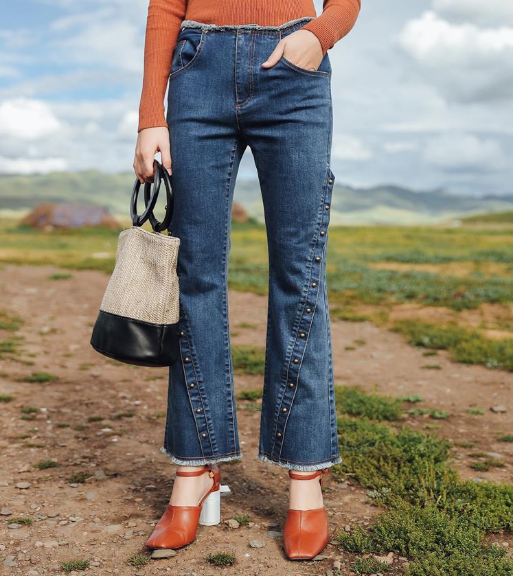 Womens Jeans pants 2017 autumn new blue retro high waist rivet women denim pants female casual loose pants 171168Îäåæäà è àêñåññóàðû<br><br>