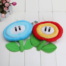 "6""15cm Super Mario Bros Blue Ice Flower & Red Sun Flower Plush Doll Toy"