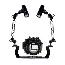 Waterproof Underwater Housing Diving Case for Canon 550D 600D 650D 70D 5D III Camera Dual Arm Bracket Led Video Torch Flashlight