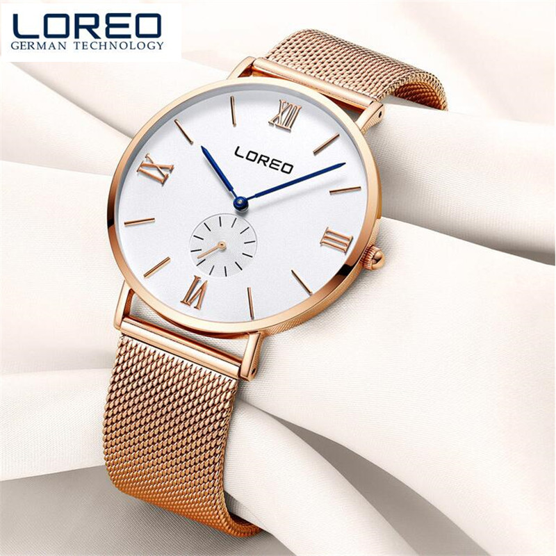 LOREO kol saati Women Dress Watches womens Quartz Date Clock Leather Wrist Watch Relogio Masculino Business Christmas gift O93<br>