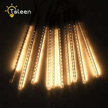 TSLEEN 50cm 30cm tube led meteor shower falling rain light waterproof icicle raindrop lamp garden bar highway xmas tree decors