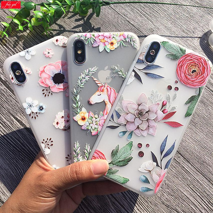 3D Relief Case iPhone 7 7Plus 8 8Plus X 10 Pink Flower Silicone Cases Cover iPhone 6 6s 6Plus Soft Capa iphone 5 s Shell