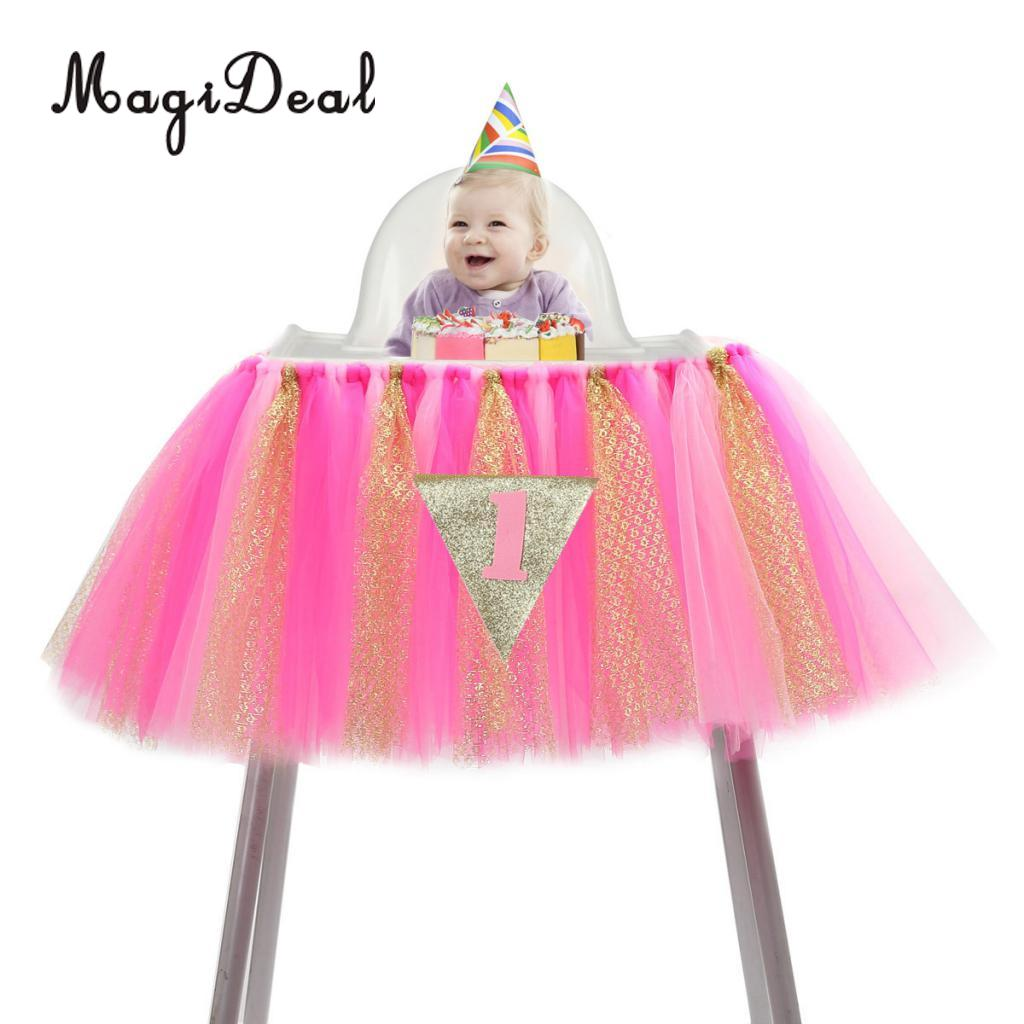 """1st Birthday Girl Baby Tutu for High Chair Decoration and /""""ONE/"""" Pennant Happy Y"""