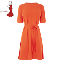 Deviz Queen Office Dress Brand 2017 New O-Neck With Belt Design Women's Elegant Work Lady Party Bodycon Orange Dresses