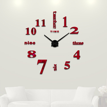 3D Big Home decorations big mirror wall clock Modern design large decorative designer wall clock watch wall sticker unique gift