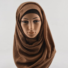 Paillette soft muslim scarf solid color,muslim hijab with rhinestones,Plain cotton diamond scarf,head wrap,shawls and scarves(China)