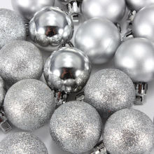 SZS Hot 24Pcs Chic Christmas Baubles Tree Plain Glitter XMAS Ornament Ball Decoration Silver