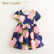 Bear Leader Girls Dress 2017 Brand Summer Style Dress Princess Dresses  Flower Pring Design Kids Dress Children Clothing 3-8Y