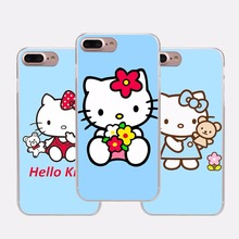 Luxury cute hello kitty design transparent hard case cover for for Apple iPhone 5 6 7 8 5s SE 5C 6S 6Plus 7Plus