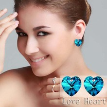 girl fashion white gold color austrian Crystal only Heart love stud Earrings Fashion woman Jewelry 84105