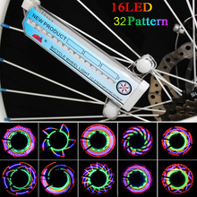 16 LED Bike Wheel Spoke Light Bicicleta Wheel Light Lamp 32-pattern Colorful Bicycle Lights  Bike Accessories