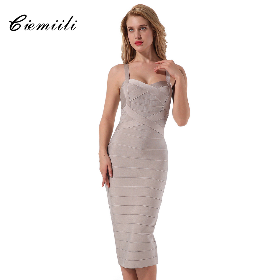 CIEMIILI 2017 New Spaghetti Strap Dress Women Cocktail Summer Sleeveless Bodycon Mid Calf Striped Dress Prom Party Bandage Dress