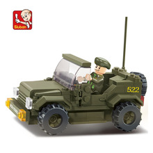 121 pieces baby boy blocks plastic Model Building Kits Military Armored vehicles bricks toys boy Army Jeep blocks toys N0296(China)