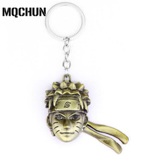 Fashion Accessories Anime Naruto Keychain Gold Uzimake Head Cool Pendant Alloy Uzumaki Naruto Key Ring for Fans Llaveros-50(China)