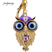 PF Cute Owl Crystal Keychain Rhinestones Key Chains Trinket Accessories for Bags Purse Jewelry Crafts Key Ring Llaveros YS134