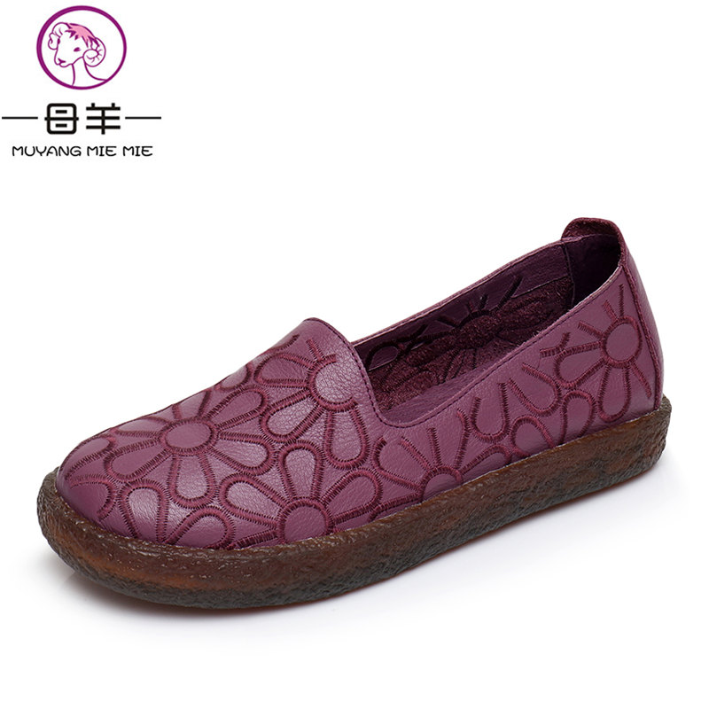 MUYANG MIE MIE Genuine Leather Flat Shoes Woman Hand-sewn Leather Loafers Cowhide Flexible Casual Shoes Women Flats Women Shoes<br>