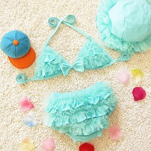 B0004 Baby Girls Swimwear Kids Swimming Bikinis Set Three Pieces Baby Girls Bathing Suit Children Lace Cute Swimsuit  with Cap