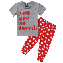Fashion 2017 Baby Set Cotton Baby Girl Boy Clothes Summer YOU Are So Loved Printed T Shirt Tops+Red Heart Pants For Baby Suit