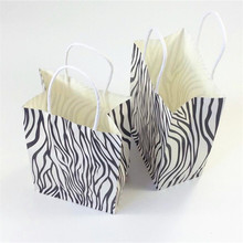 10PCS zebra gift paper bag with handle 21X13X8cm shopping bags Christmas packing bag kraft print paper bags Excellent quality